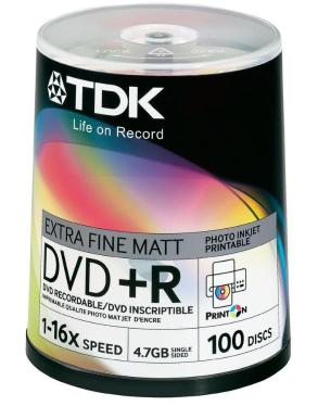 Диск DVD+R TDK 4,7Gb 16x Cake 100pcs