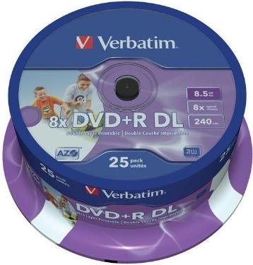 Диск DVD+R Verbatim 8.5Gb 8x DualLayer Cake 25pcs Printable [43667]