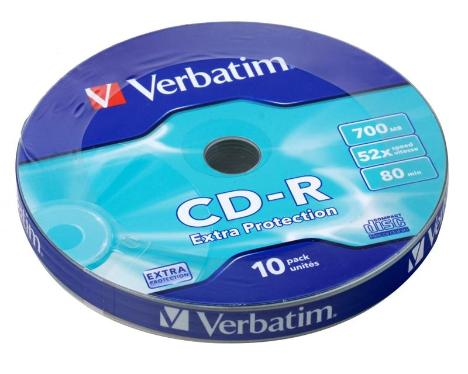 Диск CD-R Verbatim 700Mb 52x Shrink 10 pcs Extra [43725]