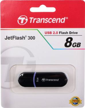 Флеш-память USB Transcend 8GB JetFlash 300 Black [TS8GJF300]