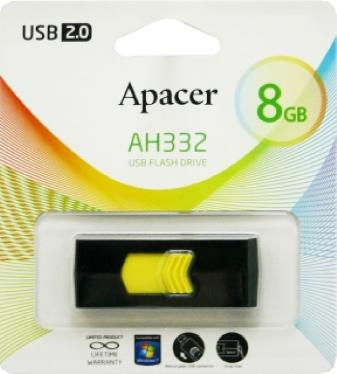 Флеш-память USB APACER 8GB AH332 Yellow [AP8GAH332B-1]