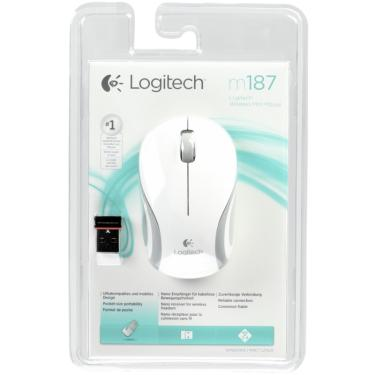 Мышь Logitech M187 Wireless Mini Mouse White [910-002740]