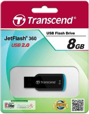 Флеш-память USB Transcend 8GB JetFlash 360 Black [TS8GJF360]