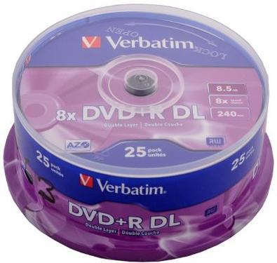 Диск DVD+R Verbatim 8,5Gb DL 8x Cake 25 pcs [43757]