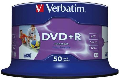 Диск DVD+R Verbatim 4,7GB 16x Cake 50 pcs Printable [43512]