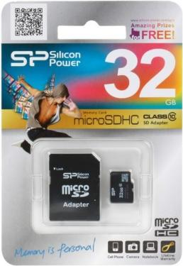 Карта памяти SD Silicon Power 32GB MicroSDHC+SD Adapter Class 10 [SP032GBSTH010V10-SP]
