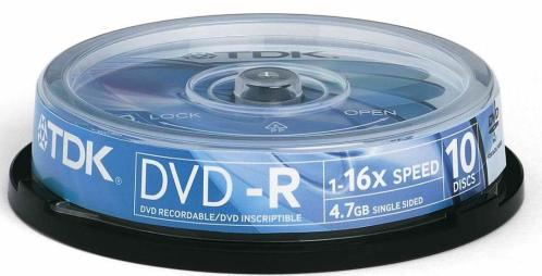 Диск DVD-R TDK 4,7Gb 16x Cake 10pcs