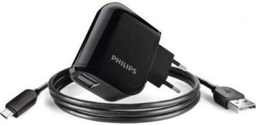 Адаптер питания 220V->USB PHILIPS Travel Charger 2207U 2xUSB+microUSB