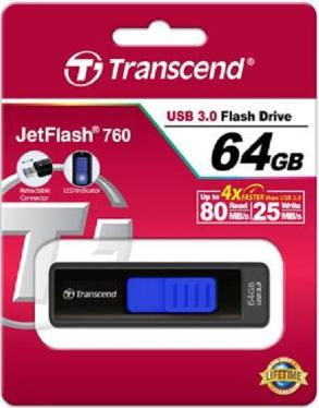 Флеш-память USB Transcend 64GB JetFlash 760 USB3.0 Black/Blue [TS64GJF760]