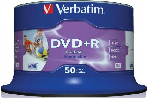 Диск DVD+R Verbatim 4,7Gb 16x Cake 50pcs printable [43512]