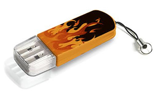 Флеш-память USB Verbatim 8GB Mini Elements Edition Fire [98158]