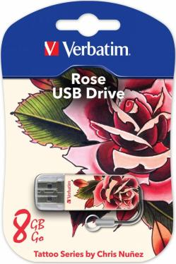 Флеш-память USB Verbatim 8GB Mini Tattoo Edition Rose [49881]