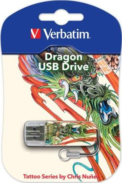 Флеш-память USB Verbatim 16GB Mini Tattoo Edition Dragon [49888]