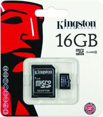 Карта памяти SD KINGSTON 16GB MicroSDHC+SD Adapter Class 10 UHS-1 G2 [SDC10G2/16GB]