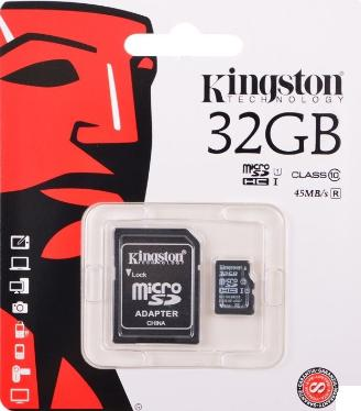 Карта памяти SD KINGSTON 32GB MicroSDHC+SD Adapter Class 10 UHS-1 G2 [SDC10G2/32GB]