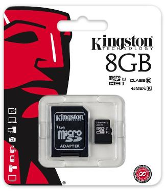 Карта памяти SD KINGSTON 8GB MicroSDHC+SD Adapter Class 10 UHS-I [SDC10G2/8GB]
