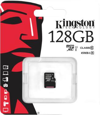 Карта памяти SD KINGSTON 128GB MicroSDXC Class 10 UHS-I [SDC10G2/128GBSP]