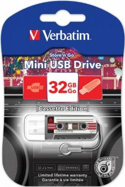 Флеш-память USB Verbatim 32GB Mini Cassette Edition Black [49391]