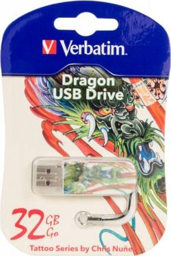 Флеш-память USB Verbatim 32GB Mini Tattoo Edition Dragon [49899]
