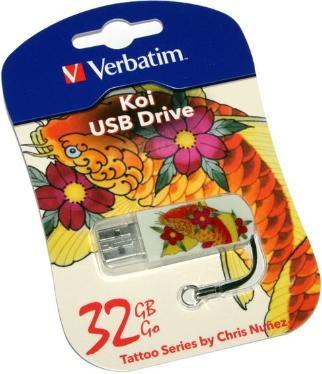 Флеш-память USB Verbatim 32GB Mini Tattoo Edition KOI FISH [49897]