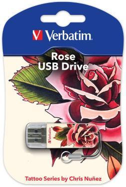 Флеш-память USB Verbatim 32GB Mini Tattoo Edition Rose [49896]