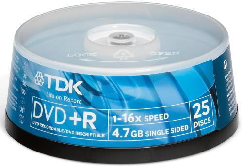 Диск DVD+R TDK 4,7Gb 16x Cake 25 pcs Printable
