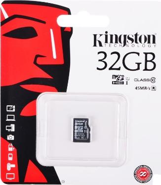 Карта памяти SD KINGSTON 32GB MicroSDHC Class 10 UHS-1 G2 [SDC10G2/32GBSP]