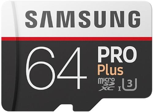 Карта памяти SD Samsung 64GB MicroSDXC+SD Adapter PRO PLUS Class 10 UHS-I U3 [MB-MD64GA/RU]