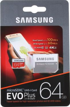 Карта памяти SD Samsung 64GB MicroSDXC+SD Adapter EVO Plus v2 UHS-I U3 [MB-MC64GA/RU]