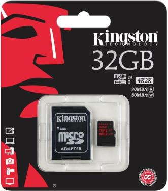 Карта памяти SD KINGSTON 32GB MicroSD+SD Adapter Class 10 UHS-I U3 [SDCA3/32GB]