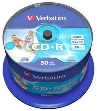 Диск CD-R Verbatim 52x Cake 50pcs Printable [43438]