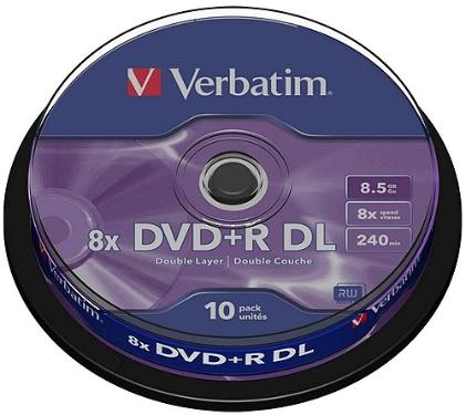 Диск DVD+R Verbatim 8,5Gb DL 8x Cake 10 pcs [43666]