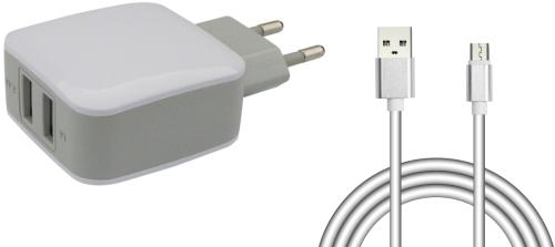 Адаптер питания 220V->USB Jet.A UC-S18 3.1A 2USB cable microUSB White