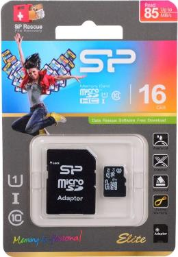 Карта памяти SD Silicon Power 16GB MicroSDHC+SD Adapter UHS-I U1 [SP016GBSTHBU1V10-SP]