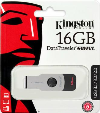 Флеш-память USB KINGSTON 16GB DataTraveler SWIVL Metal [DTSWIVL/16GB]