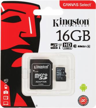 Карта памяти SD KINGSTON 16GB MicroSDHC+SD Adapter UHS-ISP Class 10 Canvas Select 80R [SDCS/16GB]