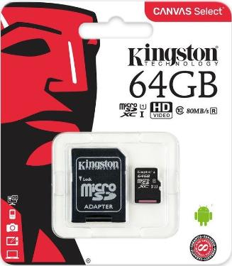 Карта памяти SD KINGSTON 64GB MicroSDXC+SD Adapter UHS-ISP Class 10 Canvas Select 80R [SDCS/64GB]
