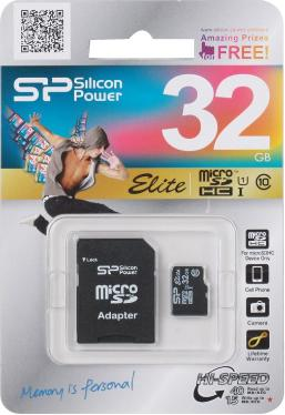 Карта памяти SD Silicon Power 32GB MicroSDHC+SD Adapter Class 10 UHS-I U1 [SP032GBSTHBU1V10-SP]